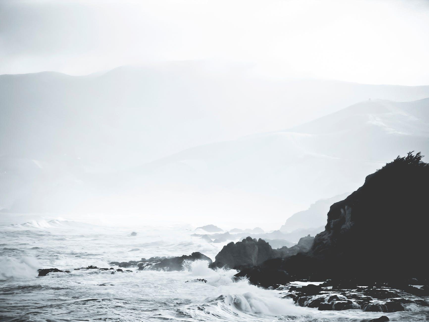 sea ocean rocks waves